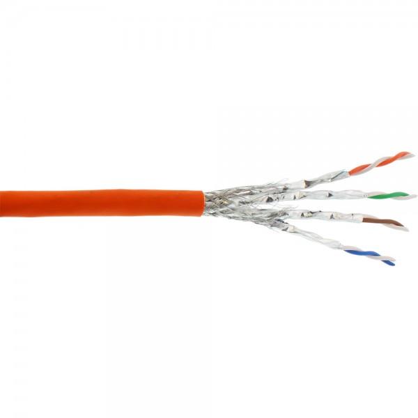 InLine® Verlegekabel Cat.7a, S/FTP (PiMF) 4x2x0,58 AWG23, 1200MHz, halogenfrei, orange, 500m