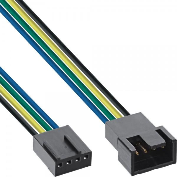 InLine® Lüfterkabel Verlängerung PWM, 4pol Molex Stecker / Buchse, 0,3m