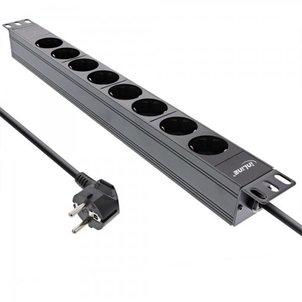 """InLine® 19"""" Steckdosenleiste, 8-fach Schutzkontakt, ohne Schalter, 2m, schwarz"""