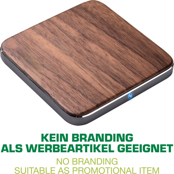 InLine® Qi woodcharge, wireless fast charger, Smartphone kabellos laden, 5/7,5/10W