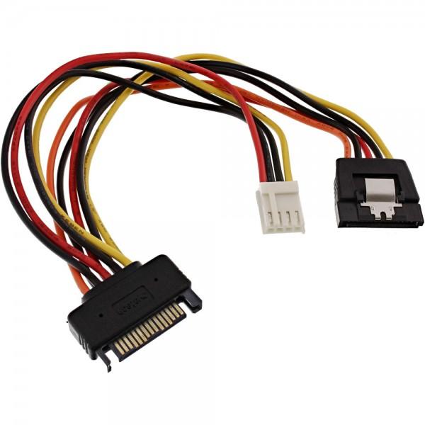 """InLine® SATA Stromadapterkabel, SATA Buchse an SATA Stecker + 8,89cm (3,5"""") Stecker"""