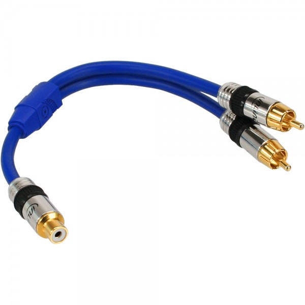InLine® Cinch-Y-Kabel, PREMIUM, 1x Cinch Buchse zu 2x Cinch Stecker, 0,25m