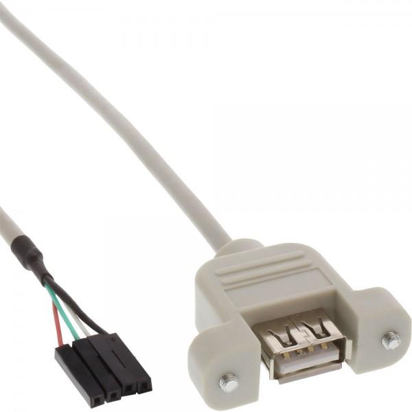 InLine® USB 2.0 Anschlusskabel, Einbaubuchse A auf Pfostenanschluss, 0,6m