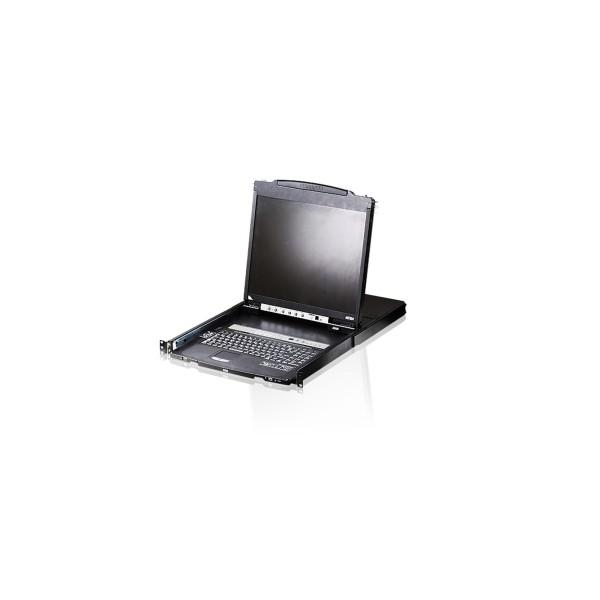 "ATEN CL5808N KVMP-Switch 8-fach, Slideaway-Konsole mit 19""-Display, USB, PS/2, Dual Rail, DE-Layout"