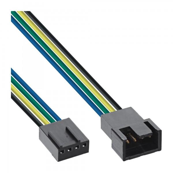 InLine® Lüfterkabel Verlängerung PWM, 4pol Molex Stecker / Buchse, 0,7m