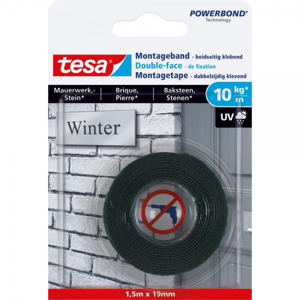 tesa Montageband, 1,5m x 19mm, für Mauerwerk und Stein, bis zu 10kg/m, grün