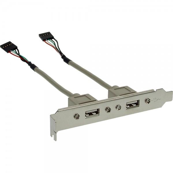 InLine® Slotblech USB 2.0, 2x USB Buchse auf 2x 5pol Pfostenverbinder, 0,3m