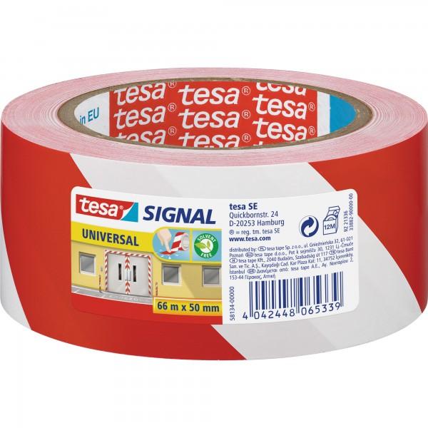 tesa Signalmarkierungsklebeband universal, 66m x 50mm, rot/weiß