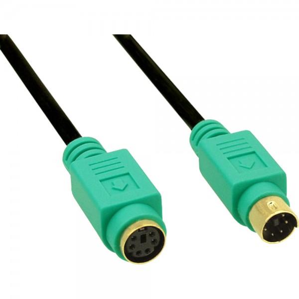 InLine® PS/2 Verlängerung, Stecker / Buchse, PC99, Kabel schwarz, Stecker grün, Kontakte gold, 2m