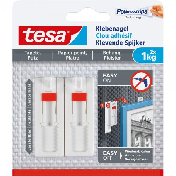 tesa Klebenagel, 2 Stück, für Tapeten und Putz, bis zu 1kg pro Nagel, verstellbar, weiß