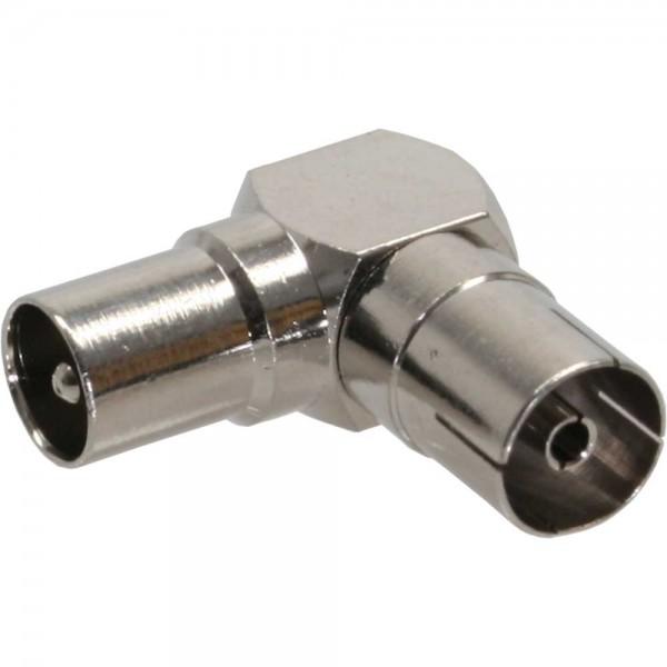 InLine® Antenne Koaxial Verbinder Stecker / Buchse, 90° gewinkelt, Metall