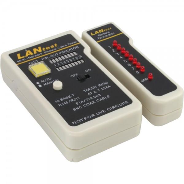InLine® Tester für BNC, RJ11, RJ45 mit Tasche