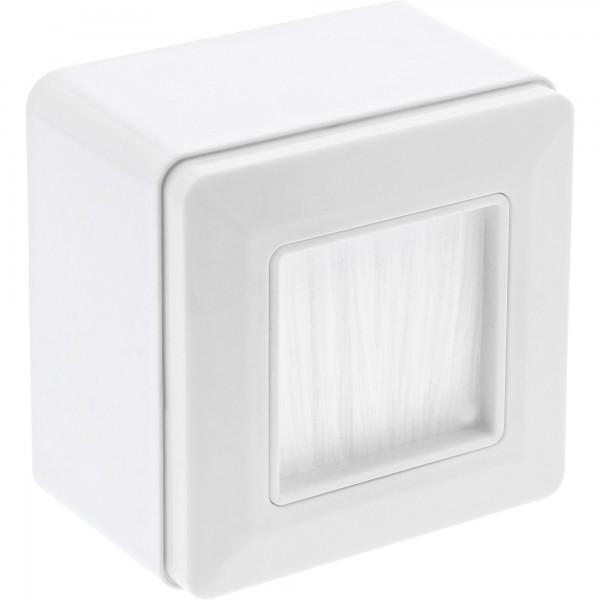 InLine® Rahmenset Aufputz mit Bürstendurchlass, für TV, weiß RAL9010