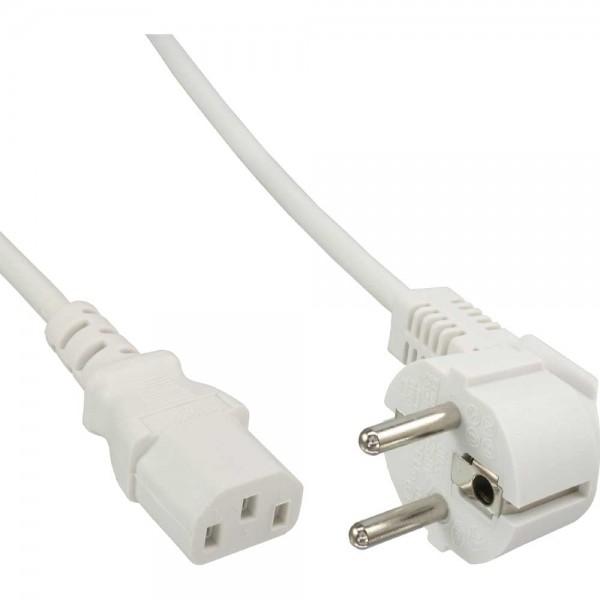 InLine® Netzkabel, Schutzkontakt gewinkelt auf Kaltgerätestecker C13, 0,5m, weiß