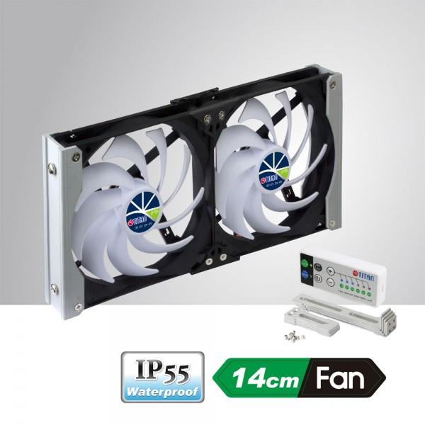 Titan TTC-SC20(C) Kühlschrank-Doppellüfter IP55 mit AUTOMATIK + Timermodus, für Wohnmobil