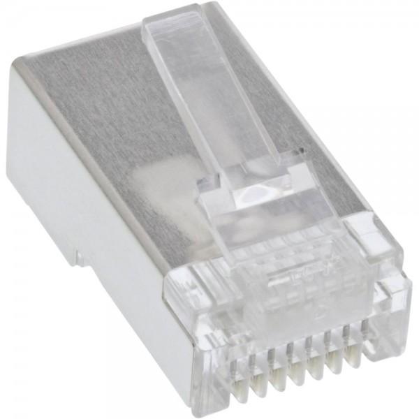 100er Pack, InLine® Modularstecker 8P8C RJ45 zum Crimpen auf Rundkabel, geschirmt