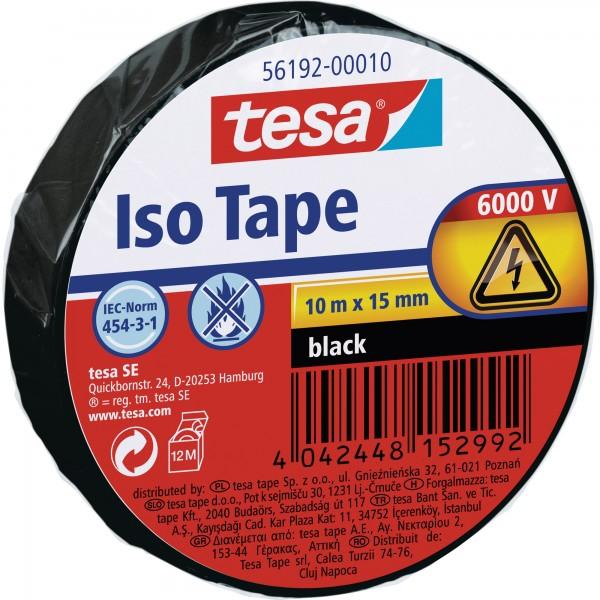 tesa Isolierklebeband, 10m x 15mm, schwarz