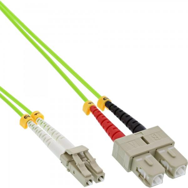 InLine® LWL Duplex Kabel, LC/SC, 50/125µm, OM5, 15m