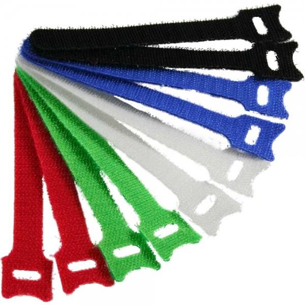 InLine® Kabelbinder 12x240mm, Klett-Verschluss, 10er, 5 versch. Farben