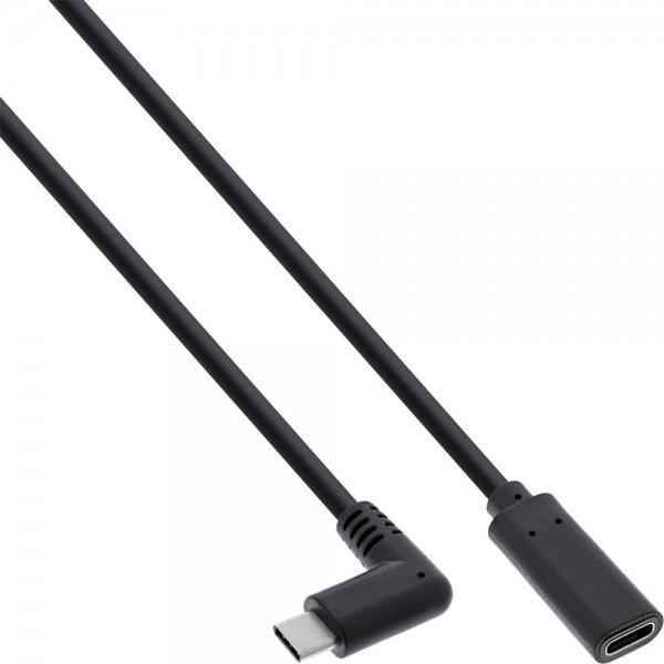 InLine® USB 3.2 Kabel, USB Typ-C Stecker gewinkelt auf Buchse, schwarz, 1m