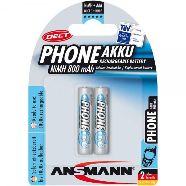ANSMANN 5035332 NiMH-Akku Micro AAA, Phone DECT, 800mAh, 2er-Pack
