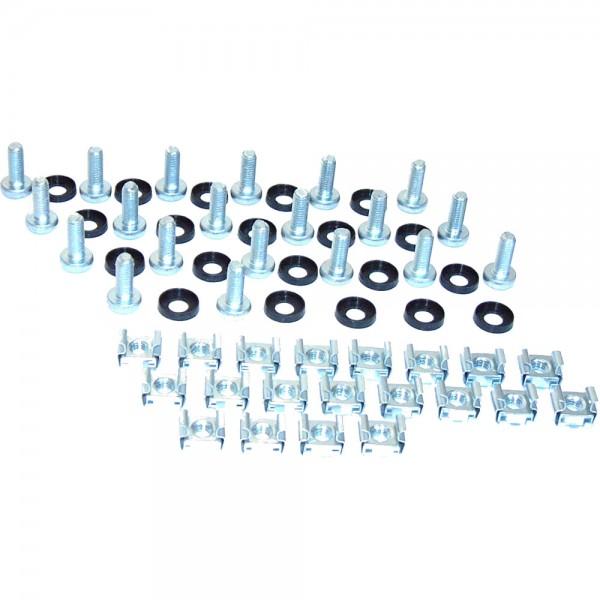 Käfigmutternset, 20x Käfigmuttern, 20x Unterlegscheiben, 20x Linsenkopfschraube, RAX-MO-X09-X1