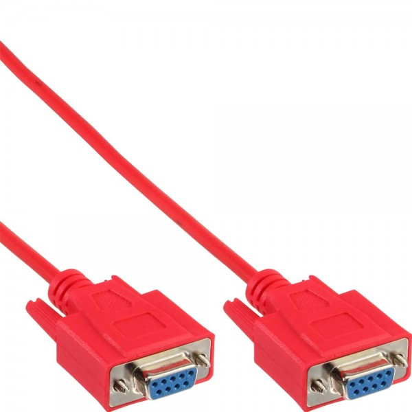 InLine® Nullmodemkabel, 9pol Buchse / Buchse, 2m, vergossen, rot