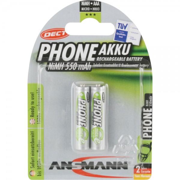 ANSMANN 5035523 NiMH-Akku Micro AAA, Phone DECT, HR03 1.2V, 2er-Pack