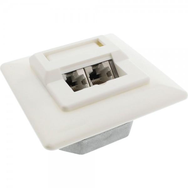 InLine® Cat.5e Anschlussdose, UP 2x RJ45 Buchse, RAL9010, weiß
