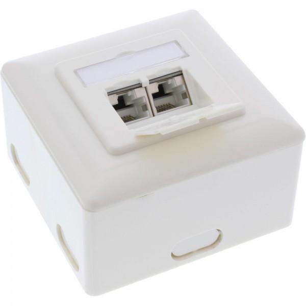 InLine® Cat.6A Anschlussdose, AP/UP 2x RJ45 Buchse, RAL9010, weiß, waagrecht
