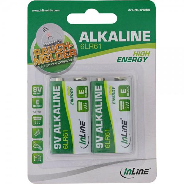 InLine® Alkaline High Energy Batterie, 9V Block 6LR61, 2er Blister