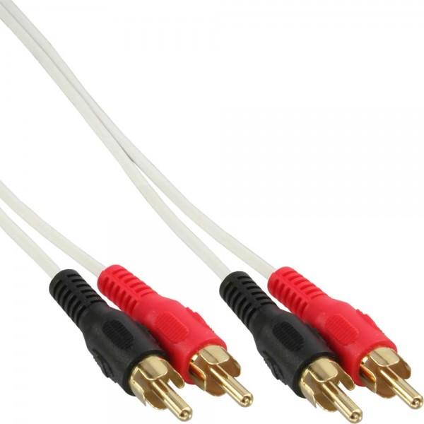 InLine® Cinch Kabel, 2x Cinch, Stecker / Stecker, weiß / gold, 3m