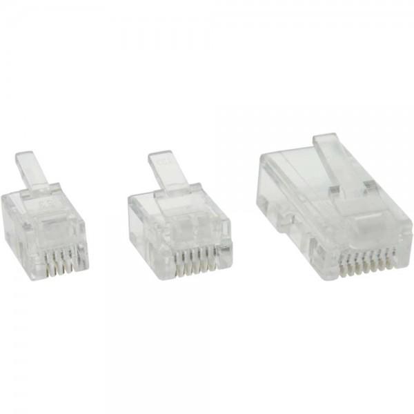 InLine® Modularstecker, 6P6C RJ12 zum Crimpen auf Flachkabel, 100er Pack