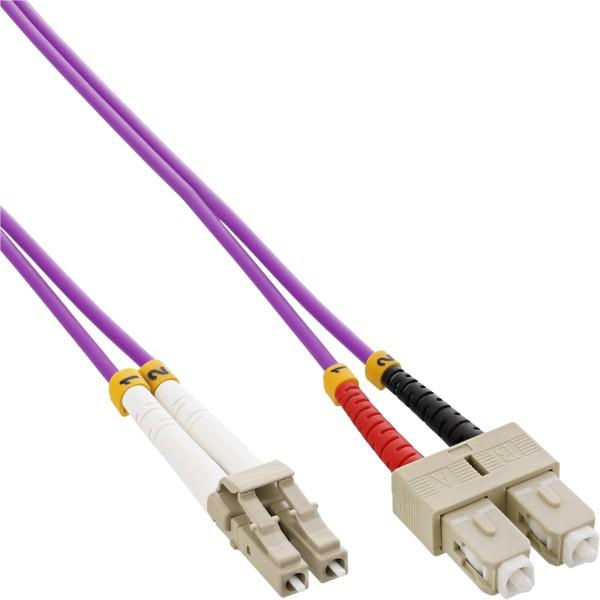 InLine® LWL Duplex Kabel, LC/SC, 50/125µm, OM4, 3m
