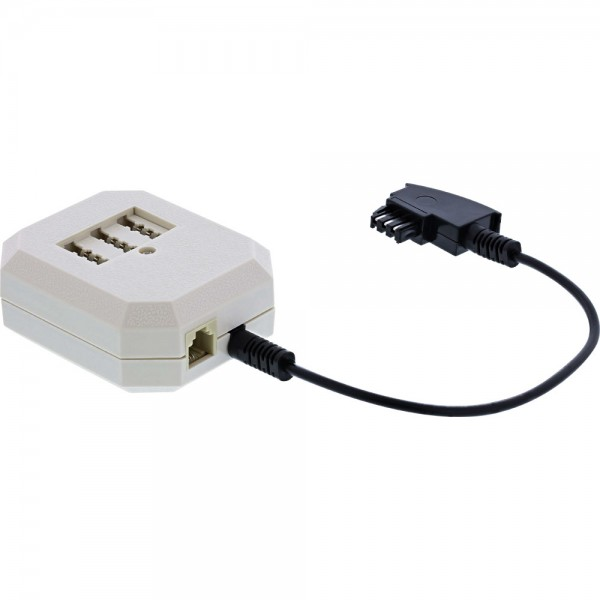 InLine® TAE Adapter, TAE-F Stecker an TAE NFN + RJ11 (6P4C) Buchse, 0,2m