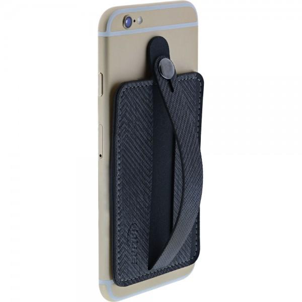 InLine® Smartphone Kreditkartenetui, Finger Halterung, selbstklebender Handygriff, Smartphonehalter, Selfie Handyhalter, dunkelgrau