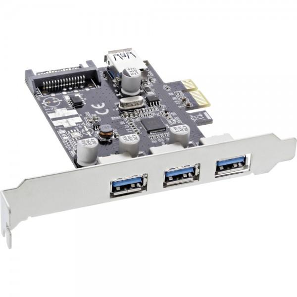 InLine® Schnittstellenkarte, 3x+1x USB 3.0, PCIe, mit SATA Stromanschluss, inkl. Low-Profile Slotblech