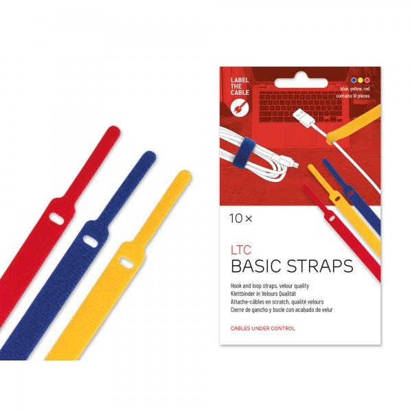 Label-The-Cable Basic, LTC 1130, 10er Set mix (gelb, blau, rot)