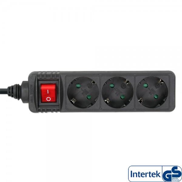 InLine® Steckdosenleiste, 3-fach Schutzkontakt, mit Schalter, 5m, schwarz