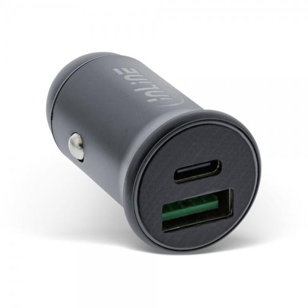InLine® USB KFZ Stromadapter Power Delivery, USB-A + USB Typ-C, grau