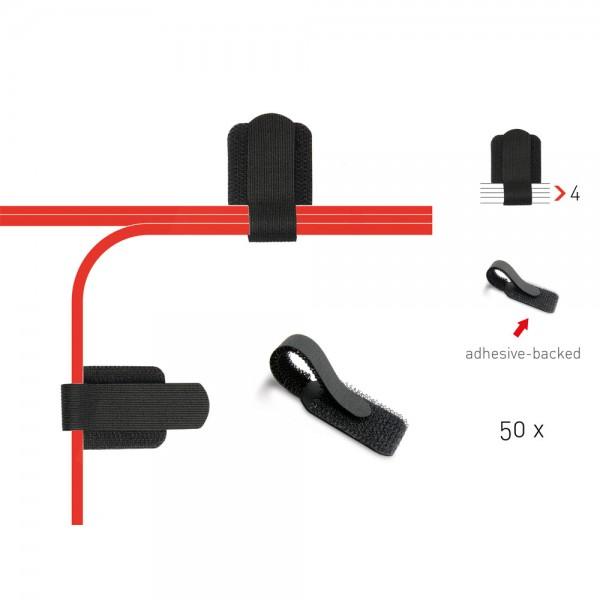 Label-The-Cable Wall, LTC PRO 3110, Klett-Kabelhalter, 50er-Pack, schwarz