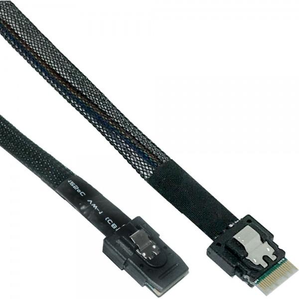 InLine® Slim SAS Kabel, SFF-8654 zu Mini SAS SFF-8087, 12Gb/s, 0,5m