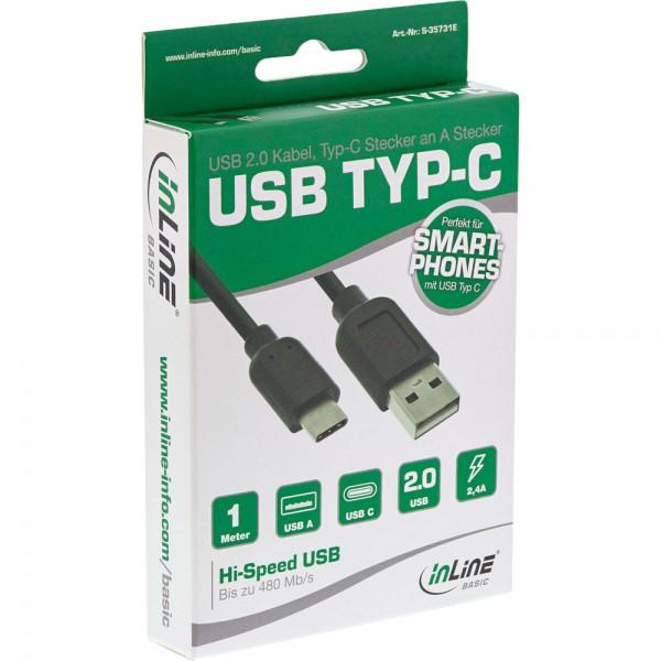 InLine® Basic USB 2.0 Kabel, Typ C ST an A ST, schwarz, 1m