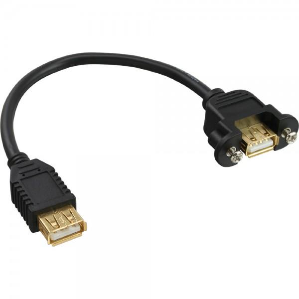 InLine® USB 2.0 Adapterkabel, Buchse A auf Einbaubuchse A, vergoldete Kontakte, 0,2m