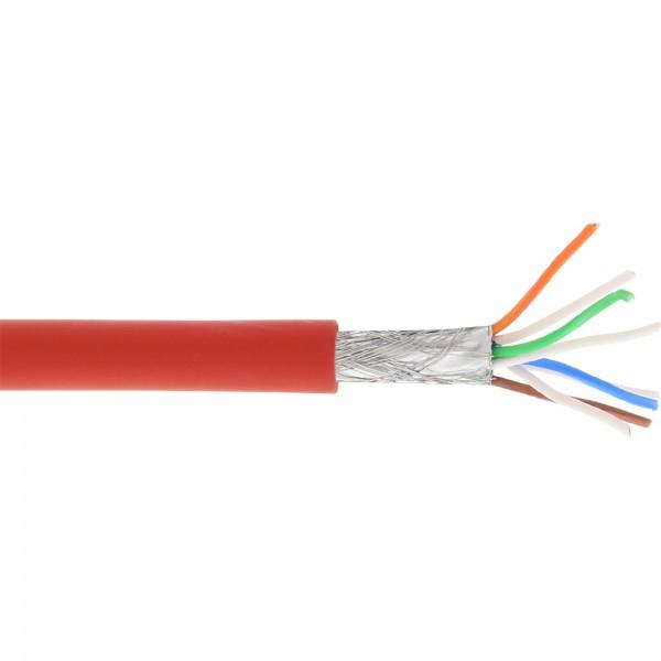 InLine® Patchkabel, S/FTP (PiMf), Cat.6A, 500MHz, halogenfrei, Kupfer, rot, 100m