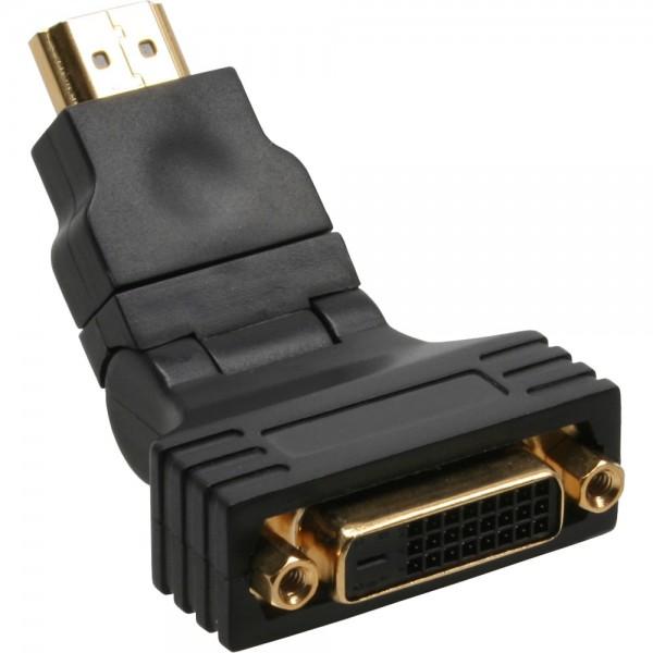 InLine® HDMI-DVI Adapter, 19pol St auf 24+1 Bu, mit 180° Winkel, vergoldete Kontakte