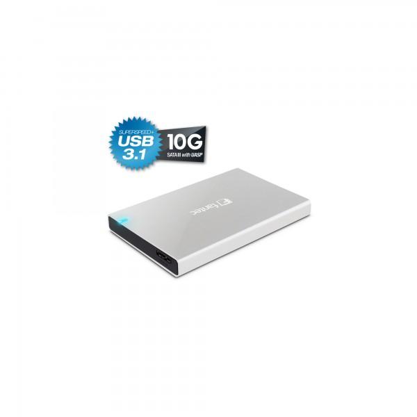 "FANTEC ALU-25B31, externes 2.5""-SATA-Gehäuse, USB 3.1, Aluminium, silber"