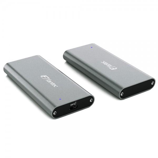 FANTEC NVMe31 SSD-Gehäuse für M.2 PCIe NVME SSD, USB 3.1 Gen. 2, grau