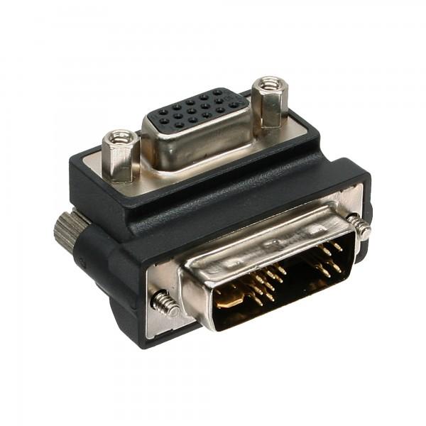 InLine® DVI-A Adapter gewinkelt, Analog 12+5 Stecker auf 15pol HD Buchse (VGA)