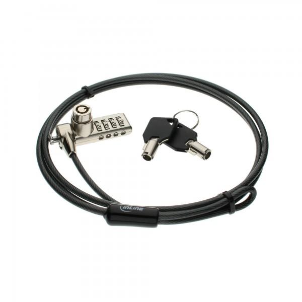 InLine® Notebook Sicherheitsschloss, mit Zahlenkombination und Schlüssel, 4,4mm x 1,5m